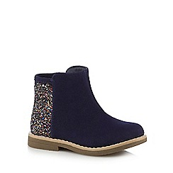 bluezoo - Girls' navy glitter ankle boots