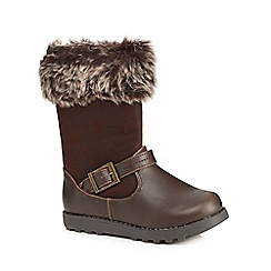 bluezoo - Girls' brown faux fur trimmed boots