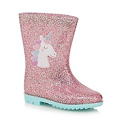 bluezoo - Girls' pink glitter unicorn wellies