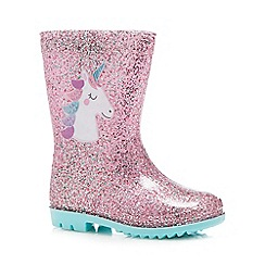 bluezoo - Kids unicorn print pink glitter wellies
