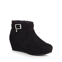 bluezoo - Girls' black suedette wedge ankle boot