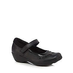 Debenhams - Girls' black scuff resistant leather star wedge school shoes