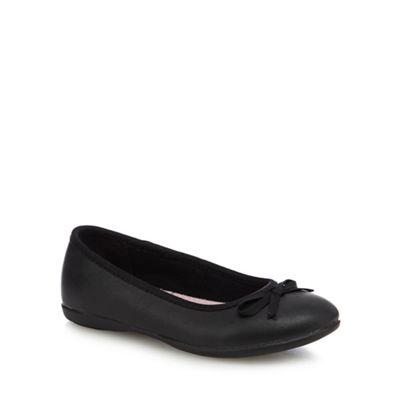 Debenhams - Girls' black scuff resistant leather ballet pump school shoes