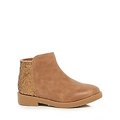 bluezoo - Girls' tan glitter ankle boots