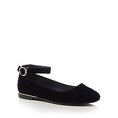 J by Jasper Conran - Girls' navy velvet ankle strap pumps