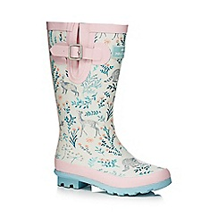 Mantaray - Girls' pink woodland print wellies