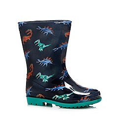 bluezoo - Kids navy dinosaur print wellies