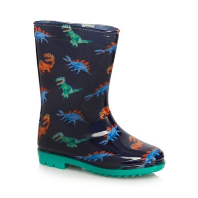 bluezoo Boys multi coloured dinosaur print wellies 2310101715
