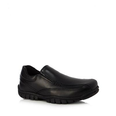 Debenhams - Boys' scuff resistant black leather slip on school shoes