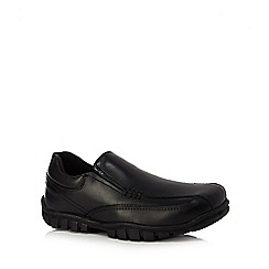 Debenhams - Boys' scuff resistant black leather slip on school shoes