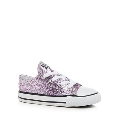 Converse Girls pink glitter lace up trainers 2310101900