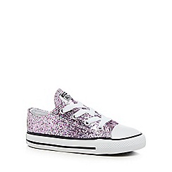 Converse - Girls' pink glitter 'Chuck Taylor' lace up trainers