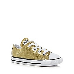 Converse - Girls' gold glitter 'Chuck Taylor' lace up trainers