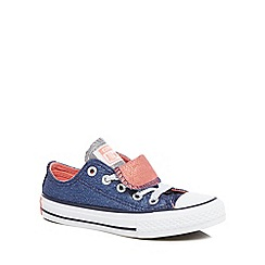 Converse - Girls' navy glitter 'Chuck Taylor' lace up trainers