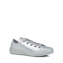 Converse - Girls' silver 'Chuck Taylor All Star' lace up trainers