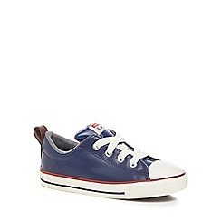 Converse - Boys' leather navy 'Chuck Taylor' lace up trainers