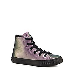 Converse - Girls' purple leather 'Chuck Taylor' hi-top trainers