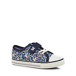 Mantaray - Girls' navy floral trainers