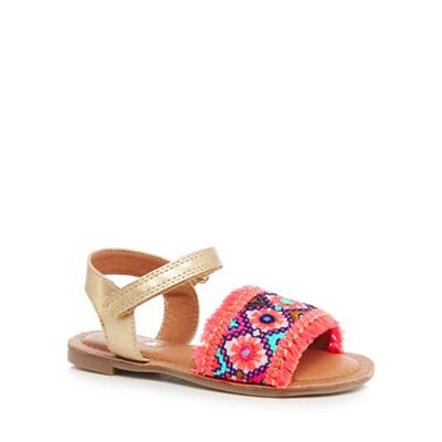bluezoo - Girls' multi-coloured embroidered 'Global Traveller' sandals