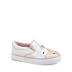 bluezoo - Girls' white unicorn slip on trainers