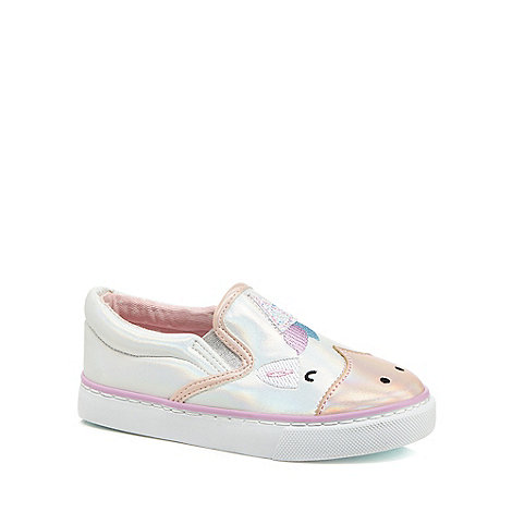 bluezoo Girls white unicorn slip on trainers 2310102090