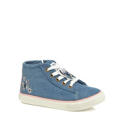 Mantaray - Girls' blue butterfly embroidered high top trainers