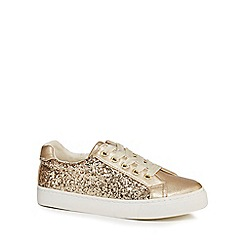 bluezoo - Girls' gold glittery lace up trainers