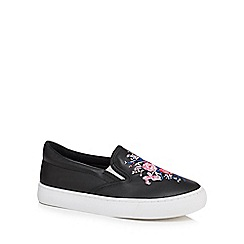 bluezoo - Girls' black floral embroidered slip on trainers