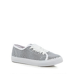 J by Jasper Conran - Girls' cream stripe lace up trainers