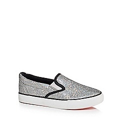 bluezoo - Girls' silver glittery slip on trainers