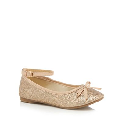 bluezoo - Girls' gold glitter ankle strap pumps