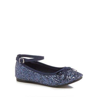 bluezoo - Girls' navy glitter ankle strap pumps