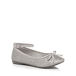 bluezoo - Girls' silver glitter ankle strap pumps