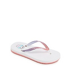 bluezoo - 'Girls' white glitter flip flops