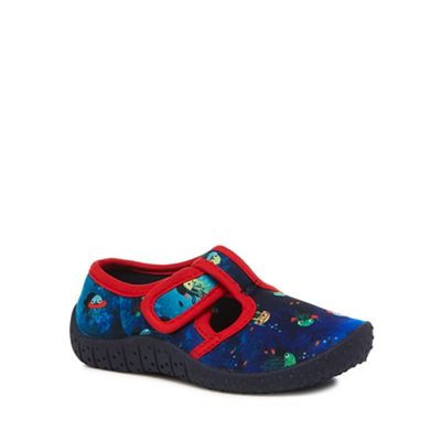 bluezoo - 'Boys' navy aqua sock shoes