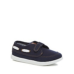 bluezoo - 'Boys' navy canvas boat shoes