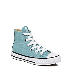 Converse - Girls' aqua glitter 'Chuck Taylor All Star' hi-top trainers