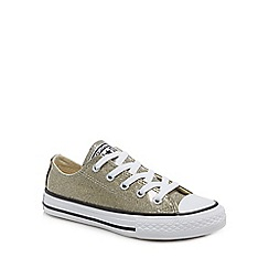 44913643220148 Converse - Girls  gold glitter  Chuck Taylor  lace up trainers