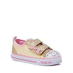 Skechers - Girls' light up gold glitter 'Twinkle toes' trainers