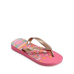 Havaianas - Girls' gold 'Flores' flip flops