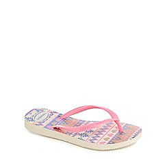 Havaianas - 'Girls' pink glitter Aztec print flip flops