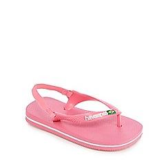 Havaianas - 'Girls' pink Brazil logo flip flops