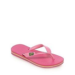 Ipanema - Girl's pink Rio flag flip flops