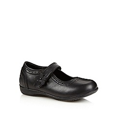 Debenhams - Girl's black leather brogue detail school shoes