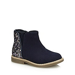 bluezoo - Girls' navy glitter heel boots