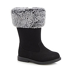 bluezoo - Girls' black faux fur cuff boots