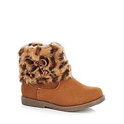 bluezoo - Girls' tan leopard print boots