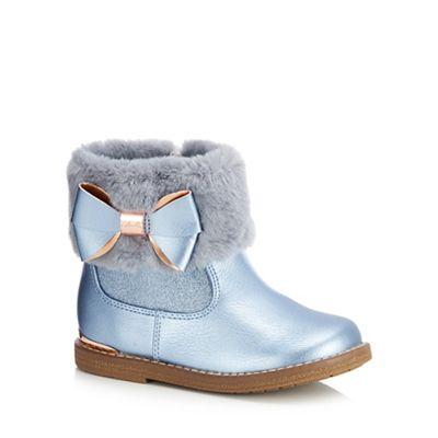eca26ba6c1e4a6 Baker by Ted Baker - Girls  blue faux fur cuff ankle boots