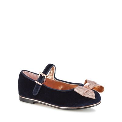 Baker By Ted Baker   Kids' Navy Velvet Pumps by Baker By Ted Baker