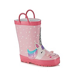 bluezoo - 'Girls' pink 3D unicorn wellies